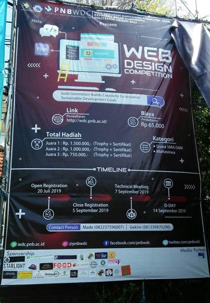 Baliho Lomba Webdesign Bali PNB WDC 2019