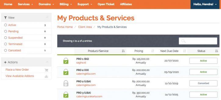 Produk web hosting, VPS dan SSL