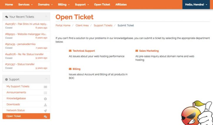 Halaman support ticket