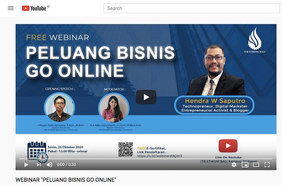 Webinar ITB STKOM Bali kampus Jimbaran
