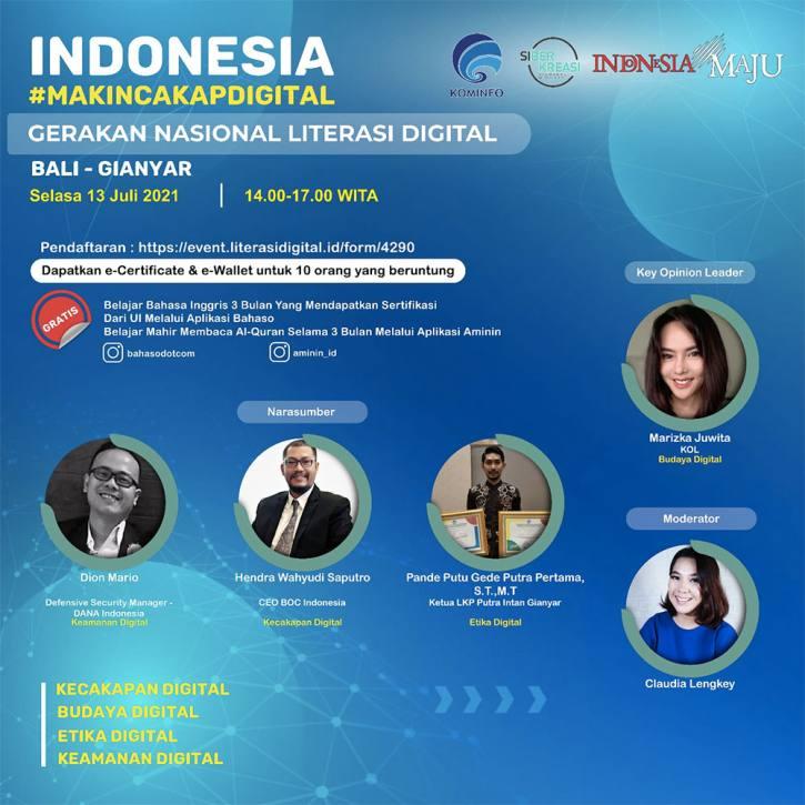 Flyer program literasi digital nasional Indonesia Makin Cakap Digital